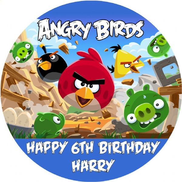 ANGRY BIRDS PERSONALISED EDIBLE ROUND CAKE TOPPER